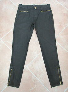 F&F - Womens Black Coated Cotton Blend Zip Ankle Skinny Jeans - size 10
