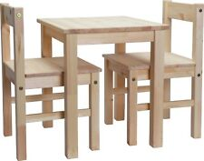 Kids Childrens Solid Wood Pine Study Breakfast Table and 2 Chairs Brown / White