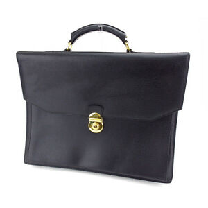 Gianfranco Ferre Business bag Black Gold Mens Authentic Used H435