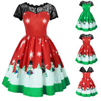 Christmas Womens Short Sleeve Lace Patchwork Printing Vintage Gown Party Dress P
