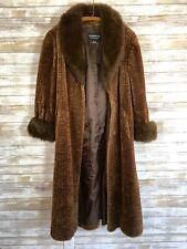 Vtg Olympia Faux Fur Long Coat Brown Medium