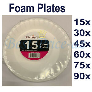 """Disposable White Foam Plates for Catering Parties Party Supplies Food 9"""" 23cm UK"""