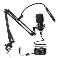 USB Condenser Microphone 192khz 24bit with Mic Stand Suspension Boom Arm Kit Set