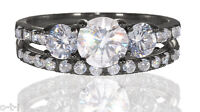 14k Black Gold Plated Round Simulated Diamond Engagement Wedding Silver Ring Set