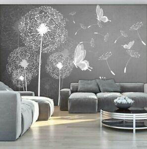 FOTOTAPETE grau Pusteblumen Tapete XXL Natur Blumen Wohnzimmer Schmetterlinge 64