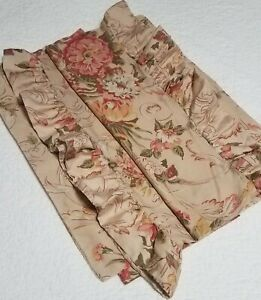 Vintage Ralph Lauren Pillow Cases Pair King Size Beige Floral 100% Cotton