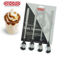 4 Acier Inoxydable Longue Portée Traité Crème Glacée Sunday Latte Thé Cuillères