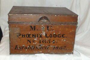 Early 19th Century Box MASONIC LODGE BOX  1857 Name Deeds TIN TOLEWARE BOX