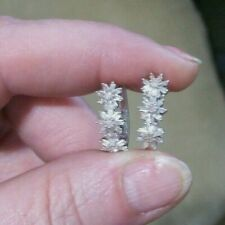 RHODIUM/STERLING SILVER .50ctw DIAMOND FLOWER DESIGNED HOOP PIERCED EARRINGS-NIB