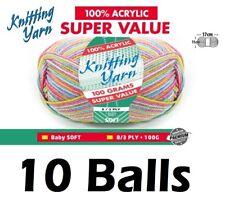10 x Knitting Yarn 8 Ply 100g Multi Colour Baby Soft Brand New