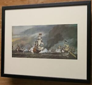 Battle of the Texel by Tintoretto, 20''x16'' frame, Galleon war scene wall art