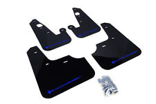 RallyArmor Black Mud Flaps (Blue Logo) for 07-17 Mitsubishi Lancer