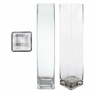 """Urban Designs Contemporary Extra Heavy High-End 23.5""""H Cube Square Glass Vase"""