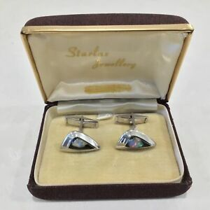 Opal Chip Set in Resin Silver-tone Cufflinks #565