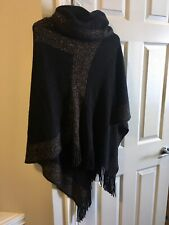 Papillon Poncho Black/Gold Knit Shawl Cowl Neck Brand New