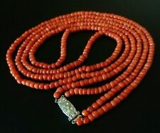 """Antique Art Deco Double Strand Coral necklace 29"""" in Length"""