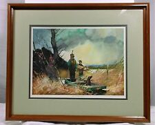 RARE ART OF ROY M MASON friend of N.C. Wyeth A Passing Flock bird hunting scen
