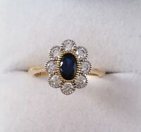 Vintage Jewellery Gold Ring Blue and White Sapphires Antique Deco Jewelry sz P