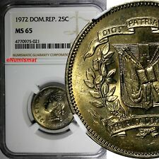 DOMINICAN REPUBLIC 1972 25 Centavos NGC MS65 Mintage-800,000 KM# 20a.1