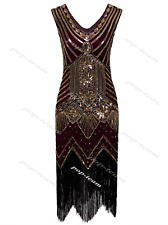 1920s Flapper Costume Great Gatsby Party Fancy Prom Evening Cocktail Dress 6-20 Wine Gold Dresses L UK 14-16 / US 12-14