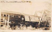 Altoona Kansas~Mo-Pac Train Wreck on Truss Bridge~Men on Sides~9-30-1909~RPPC