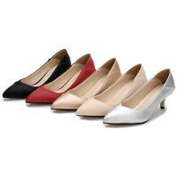 Womens Low Kitten Heel Chunky Dress Work Pointy Toe Slip On Pumps Shoes Size New