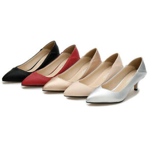 Lady Kitten Chunky Heel Pumps Elegant Sexy Comfortable Pointed Toe Slip On Shoes