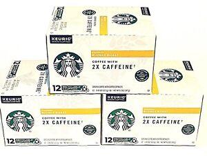 3x Starbucks Blonde Roast Coffee 2X Caffeine K-Cups = 36 Total  EXP 3/2022