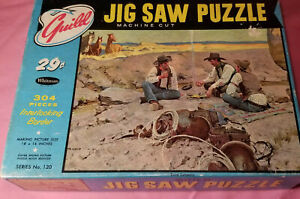 Vintage Whitman Guild Puzzle 304pc Jigsaw Interlocking Western Old West