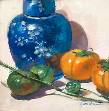 Ginger Jar and Persimmons Kitchen Still Life Oil Painting  by Keith Gunderson