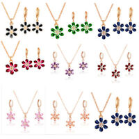 Fashion Gold Palted Flower Crystal Pendant Necklace Stud Earrings Jewelry Set