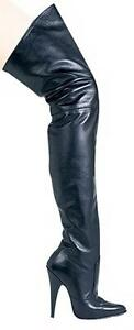"SS4U Black Leather Thigh Boots 4"" Heels Inner Zipper US Size 6  Ellie  Blaze4"