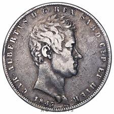5 lire 1847 P Gênes Charles-Albert Sardaigne Italie TTB - Argent
