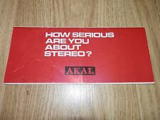 """Original Vintage AKAI """"How Serious Are You About Stereo?"""" Brochure"""