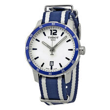 Tissot Quickster Silver Dial Blue and White Stripe Nylon Unisex Watch