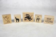 Lot of 5 STAMPIN' UP! Spooky Halloween Wood Mounted Rubber Craft Stamps Ghosts!