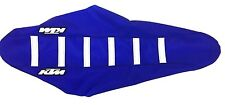 New KTM Blue & White Ribbed Seat Cover 2016-17 SX-F SXF 250 350 450 TLD replica