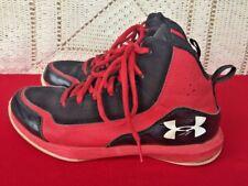 UNDER ARMOUR Black Red Hi Top RUN FAST Athletic Running Walk Shoes Boys Sz 5.5 Y