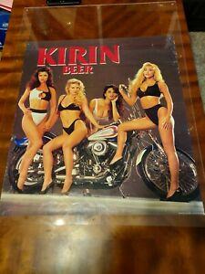 Vintage Kirin Beer Harley Davidson Advertisement Art Poster 25 x 22