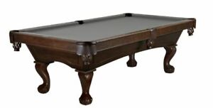 """8' """"Brunswick"""" Allenton Pool Table - Espresso Stain - Ball & Claw Leg"""