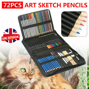 72PCS Professional Artist Pencils Set Drawing Sketching Colouring Art Kit Adult