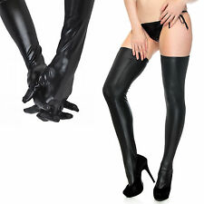 Black Sexy Wet Look Faux Leather Thigh-high Stockings+Long Gloves Bundle Set