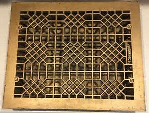 Antique Victorian Cast Iron 14X17 Cold Air Return Heat Grate Grill Floor Vent