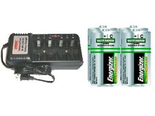 Universal Charger + 4-Pack C Energizer Recharge NiMH Batteries (2500 mAh)