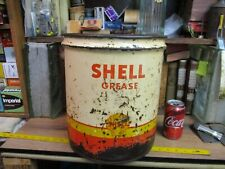 SHELL OIL CO CAN 5 GL GALLON MOTOR GAS TIN GREASE LUB VINTAGE SERVICE STATION