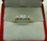 Antique /Vintage Lovely 9ct Gold And Platinum Five Stone Diamond Ring Size M