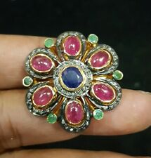 Natural Sapphire, Ruby, Emerald Gemstone Pave Diamond Ring 925 Sterling Silver