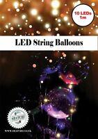 6 X White LED Light Helium BALLOONS Wedding BALLONS Party Celebration Decoration