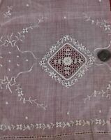 Antique 19thC Swiss Emb & Irish Crochet Florals & Tiny Bows Fabric c1880-90
