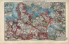 Mapa Map 1910: el noroeste de Alemania. I/II. en lagos Büsum Sylt Schwerin